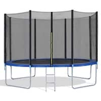 Costway 12FT Trampoline Combo Bounce Jump Safety Enclosure Net W/Spring Pad Ladder - Black