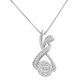 Amanda Rose AGS Certified 3/4ct tw Diamond Pendant - Necklace in 10K White Gold