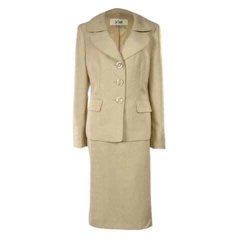 Womens Metallic Texture Business Suit Jacket & Skirt Set - 4