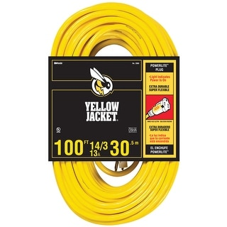 Coleman Cable 02888  Yellow Jacket 100' 14/3 Extension Cord with Power Indicator Light and Abrasion Resistant Vinyl