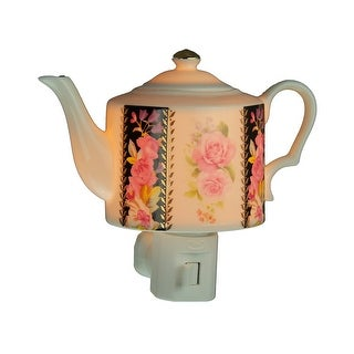 Pink Rose Garden White Porcelain Teapot Plug In Night Light