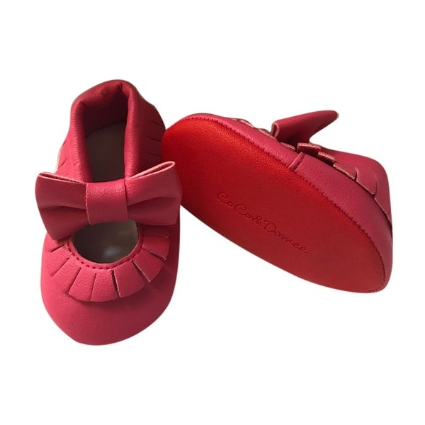 572aa61a3ae Shop Baby Girls Hot Pink Red Soft Sole Mary Jane Bow Faux Leather ...