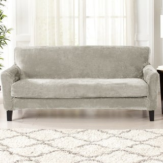 Link to Great Bay Home 2 Piece Velvet Plush Stretch Sofa Slipcover Similar Items in Slipcovers & Furniture Covers