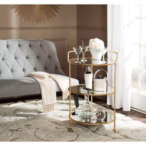 "SAFAVIEH Dulcinea Gold/ Mirror Top Bar Cart - 22"" x 22"" x 35.4"""