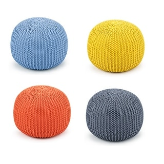 Costway Hand Knitted Pouf Floor Ottoman Footrest Seating 100% Cotton Braid Cord OrangeBlueGreyYellow