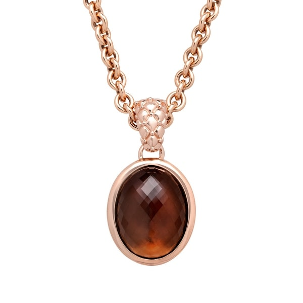 22 ct Smoky Quartz Pendant in 18K Rose Gold-Plated Bronze - Smokey