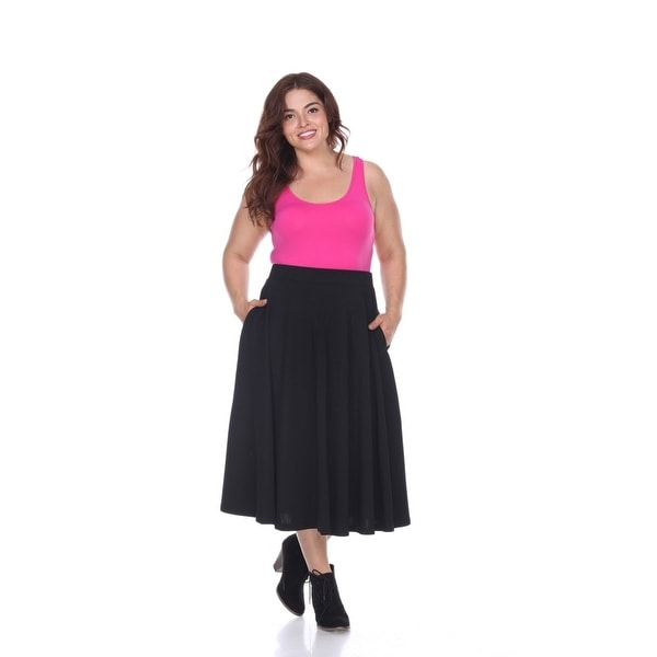 Shop Plus Size Tasmin Flare Midi Skirt Black Free