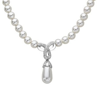 Crystaluxe Drop Necklace with Swarovski Crystals & Simulated Pearls in Sterling Silver
