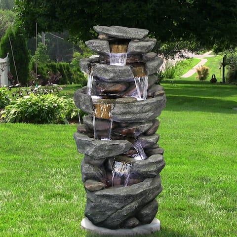 Outdoor Relaxing Water Fountain -6-Tier Outdoor Fountain w/LED Light