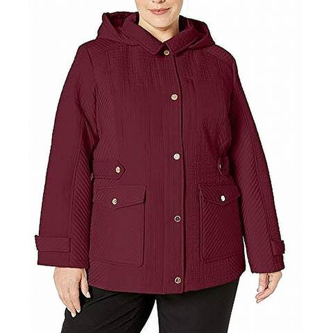 Jones York Womens Jacket Merlot Purple Size 3X Plus Quilted Hooded