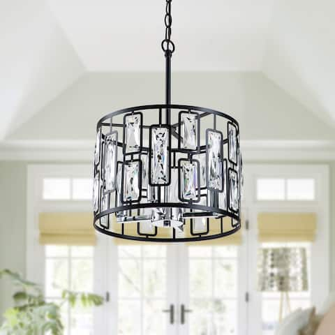 """4-Light Black Hanging Pendant Light with Clear Crystals - W13.5""""xL13.5""""xH9"""""""