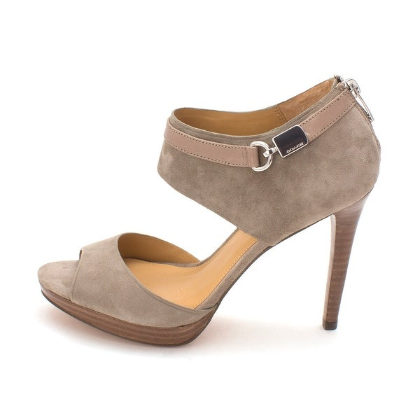 Coach Womens Wexwood Suede/Mat Calf Open Toe Ankle Strap D-orsay Pumps