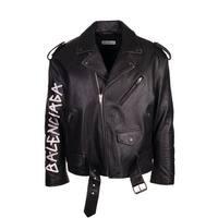 Balenciaga Men's Black Leather Painted Logo Biker Jacket - S