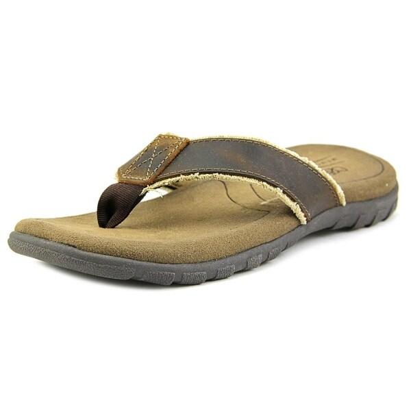 Crevo Latte Men Open Toe Leather Brown Thong Sandal