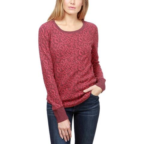 Lucky Brand Womens Pullover Sweater Animal Print Ribbed Hem