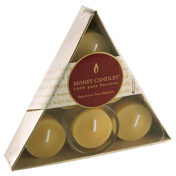 Honey Candle Co. Pure Beeswax Candles Tea Lights 6 count with 1 Glass Holder