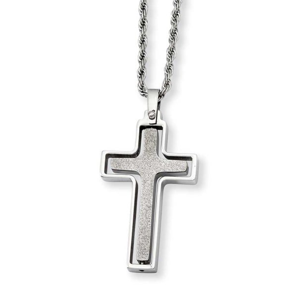 Stainless Steel Polished & Laser Cut Moveable Cross Pendant 22in Necklace (2 mm) - 22 in