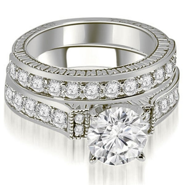 2.15 CT Antique Cathedral Round Cut Diamond Bridal Set in 14KT Gold