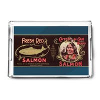 Catch A Can Salmon Can - Vintage Label (Acrylic Serving Tray)