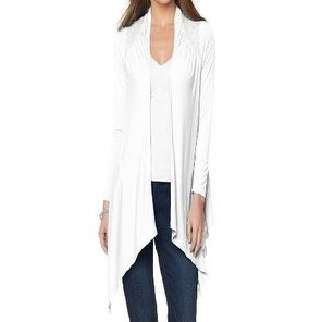 Rhonda Shear NEW White Womens M/L Open-Front Wrap Lace Cardigan ...