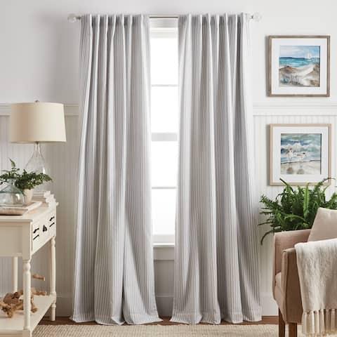 Martha Stewart Ticking Stripe Back Tab Curtain Panel Pair