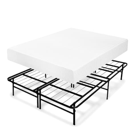 8 Inch Memory Foam Mattress and Bed Frame Set - Crown Comfort