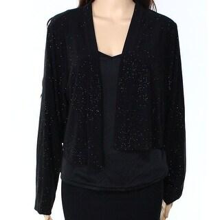 Calvin Klein NEW Black Womens Size 2X Plus Sparkle Shrug Jacket