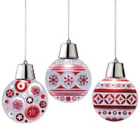 "4.75"" Battery Operated LED Lighted Red and White Flashing Spots Christmas Ornament"