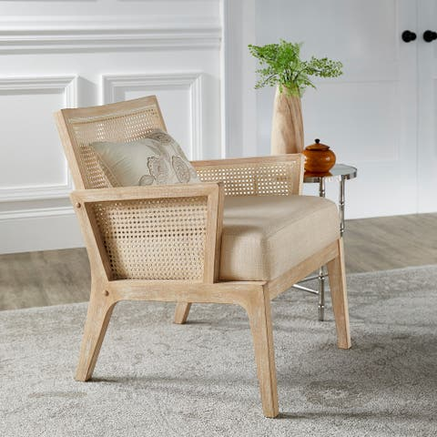 Celann Natural Finish Fabric Cane Accent Chair by iNSPIRE Q Modern