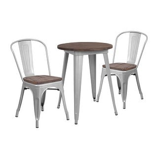 "Offex 24"" Round Silver Metal Table Set with Wood Top and 2 Stack Chairs"