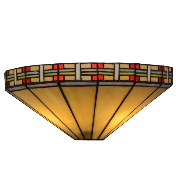 """Meyda Tiffany 144963 Arizona 2 Light 14.5"""" Wide Hand-Crafted Wall Sconce with Stained Glass"""