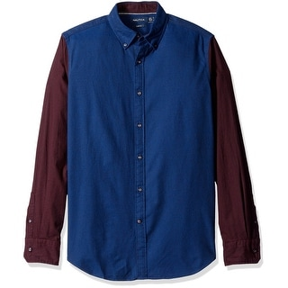 Nautica NEW Blue Red Mens Size Large L Long Sleeve Button Down Shirt