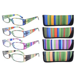 Eyekepper 4-Pack Mix Striped Temples Spring Hinge Reading Glasses