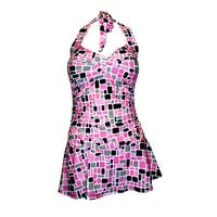 Twist Front Ruched Side Halter Tie Swimdress in Pink/Grey/Black Print