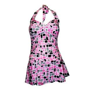 Twist Front Ruched Side Halter Tie Swimdress in Pink/Grey/Black Print