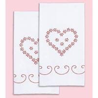 "Valentine's Day - Stamped White Decorative Hand Towel Pair 17""X28"""