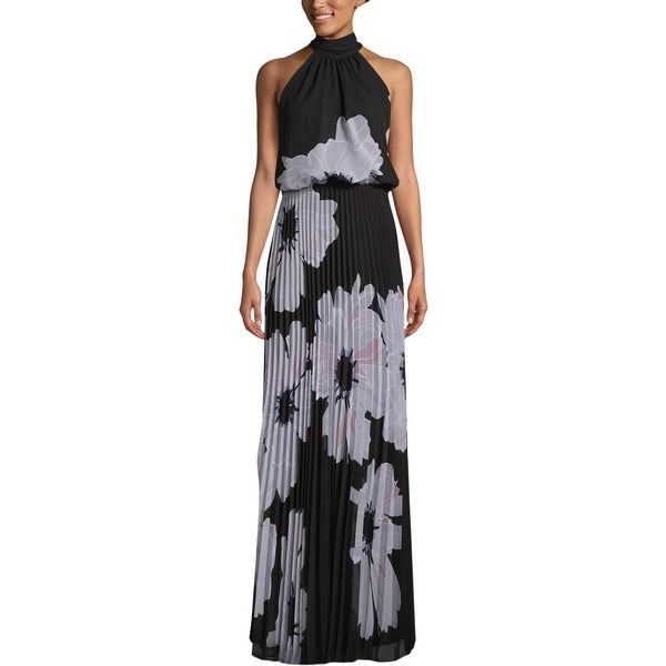 Betsy & Adam Womens Formal Dress Mock Neck Floral - Black/Grey. Opens flyout.