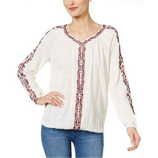Style & Co Cotton Embroidered Peasant Top Shirt Love Yourself Pink - XL