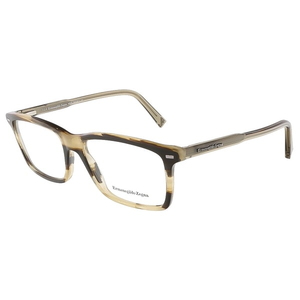 Ermenegildo Zegna EZ5008/V 062 Horn Brown Rectangular Opticals - 54-16-145