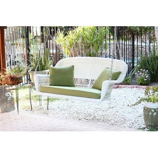 """51.5"""" Hand Woven White Resin Wicker Outdoor Porch Swing with Green Cushion"""