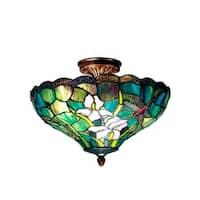 "14"" Antique Brass Savannah Hand Crafted Glass Tiffany-Style Flush Mount Ceiling Light Fixture - Green"