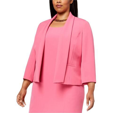 Kasper Womens Open Front Blazer Jacket, Pink, 16W