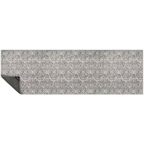 "NeverMove Washable Designer Rug by GelPro 24x76 Biscayne Grey Fog - 24""x76"""
