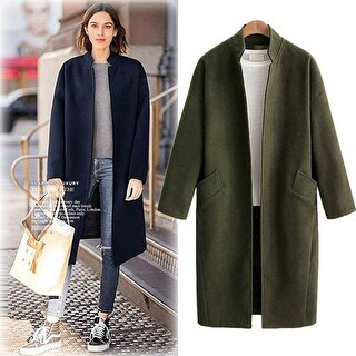 Stand Collar Thick Woolen Coat Loose