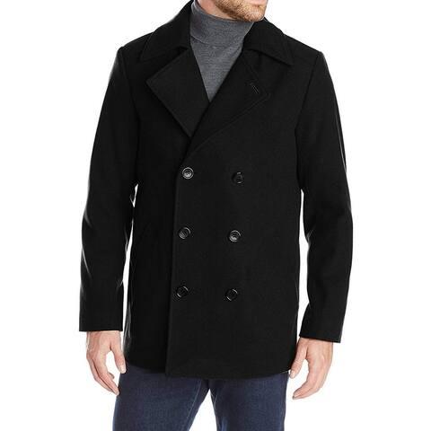 Haggar Mens Coats Black Size Medium M Double-Breasted Bedford Wool