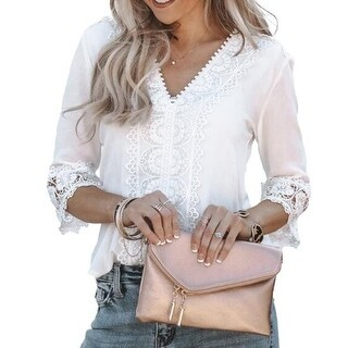 Link to V-Neck Lace Stitching  3/4 Sleeve Loose Shirt Tops Similar Items in Intimates