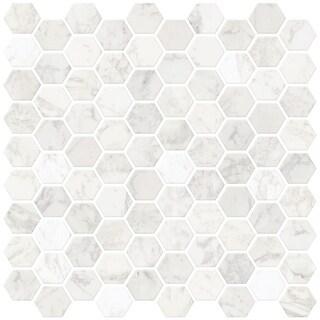 "Brewster NH2359  Hexagon 10"" x 10"" Square Geometric Self-Adhesive Resin Peel and Stick Backsplash Tiles - White"