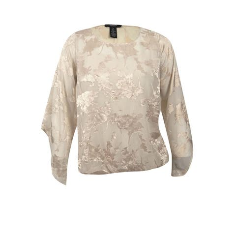 fccb70eb511 Alfani Women's Plus Size Floral Jacquard Blouson Top (1X, New Champagne) -  New