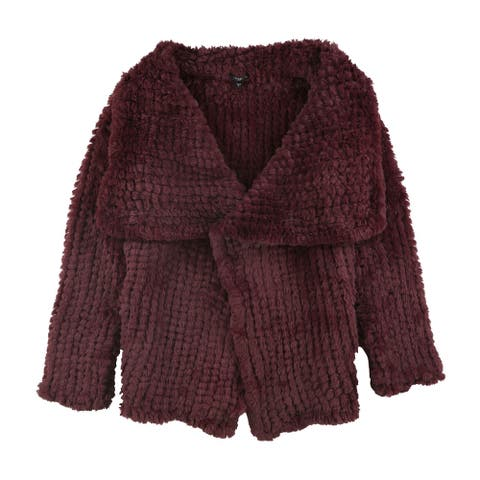GUESS Womens Faux-Fur Jacket, Red, Large