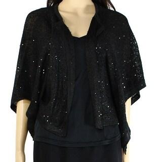 Alfani NEW Black Sequin Flyaway Women's XS Shrug Latch-Front Sweater